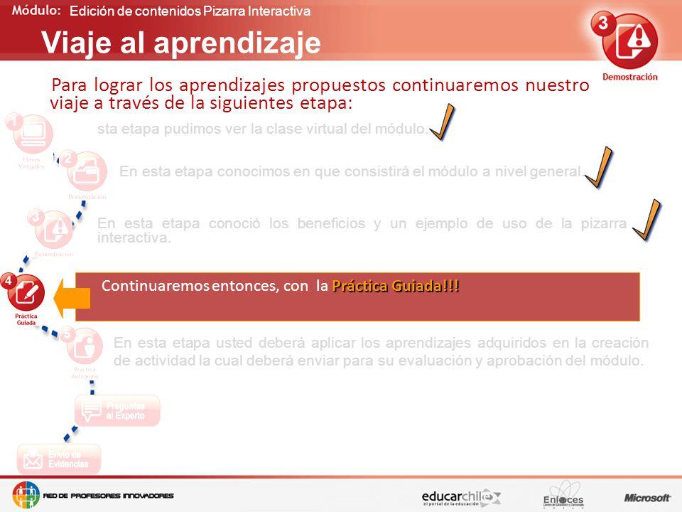 Edición de contenidos Pizarra Interactiva Para lograr los aprendizajes propuestos continuaremos nuestro viaje a través de la siguientes etapa: Viaje al aprendizaje En esta etapa conoció los beneficios y un ejemplo de uso de la pizarra interactiva.