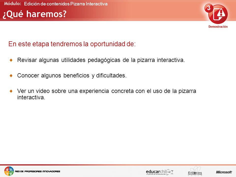 Edición de contenidos Pizarra Interactiva ¿Qué haremos.