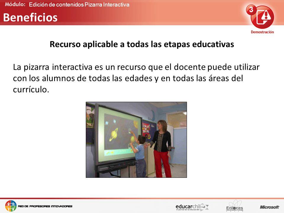 Edición de contenidos Pizarra Interactiva Recurso aplicable a todas las etapas educativas La pizarra interactiva es un recurso que el docente puede utilizar con los alumnos de todas las edades y en todas las áreas del currículo.