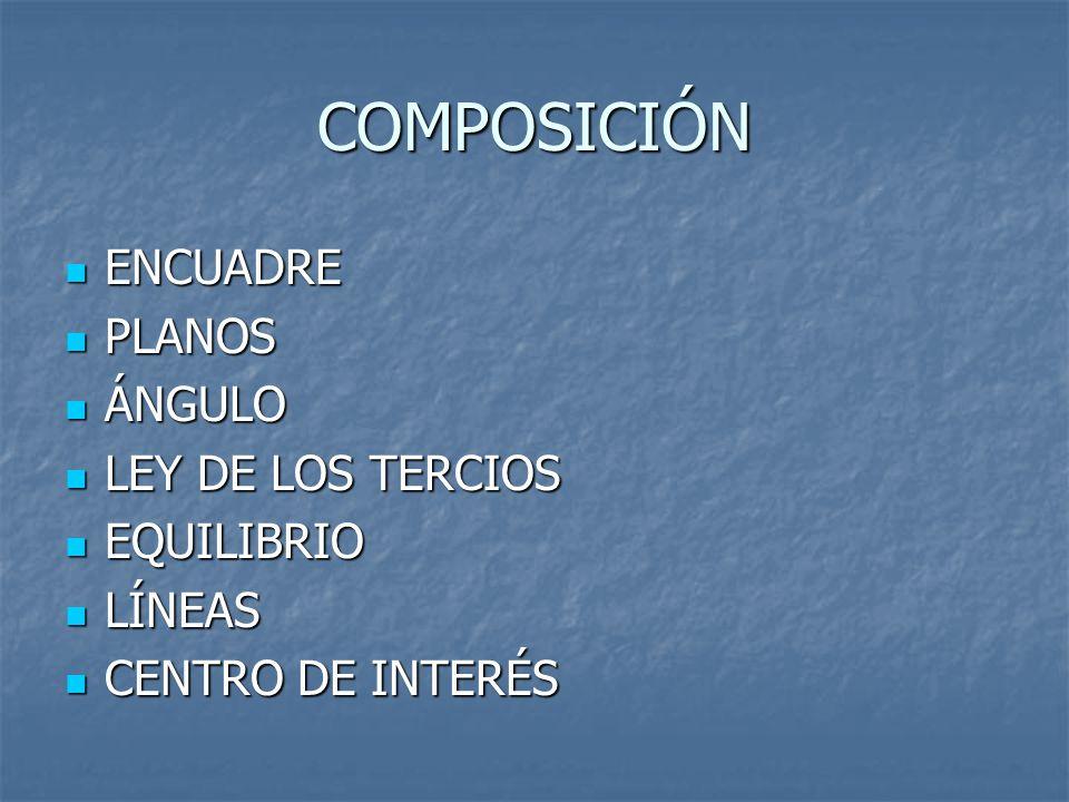 COMPOSICIÓN ENCUADRE ENCUADRE PLANOS PLANOS ÁNGULO ÁNGULO LEY DE LOS TERCIOS LEY DE LOS TERCIOS EQUILIBRIO EQUILIBRIO LÍNEAS LÍNEAS CENTRO DE INTERÉS CENTRO DE INTERÉS