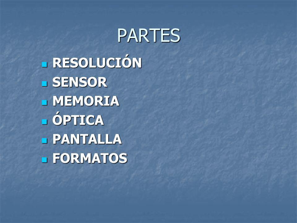 PARTES RESOLUCIÓN RESOLUCIÓN SENSOR SENSOR MEMORIA MEMORIA ÓPTICA ÓPTICA PANTALLA PANTALLA FORMATOS FORMATOS