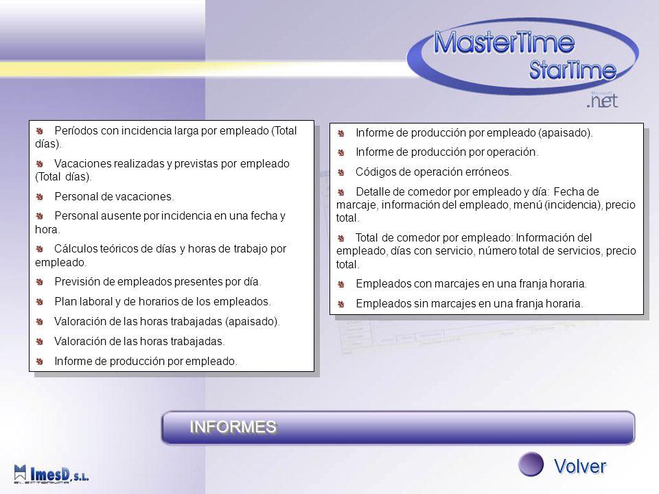 INFORMESINFORMES Volver Períodos con incidencia larga por empleado (Total días).