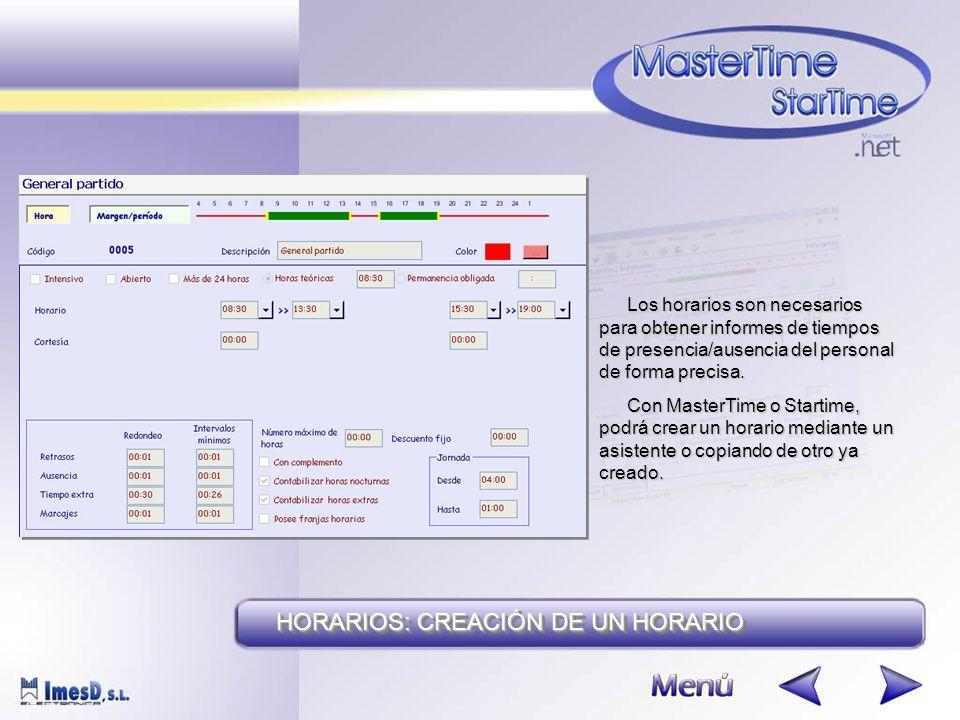 Los horarios son necesarios para obtener informes de tiempos de presencia/ausencia del personal de forma precisa.