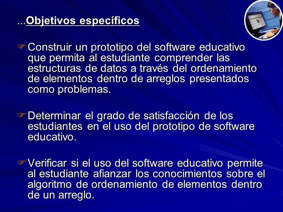 ...Objetivos específicos  Construir un prototipo del software educativo que permita al estudiante comprender las estructuras de datos a través del ordenamiento de elementos dentro de arreglos presentados como problemas.