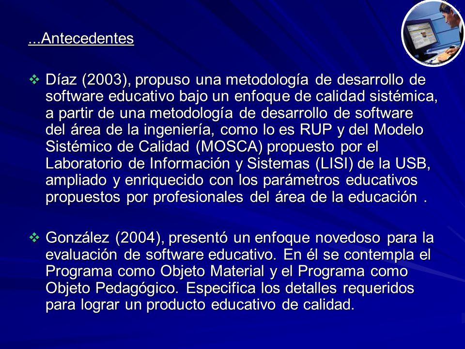 ...Antecedentes  Díaz (2003), propuso una metodología de desarrollo de software educativo bajo un enfoque de calidad sistémica, a partir de una metodología de desarrollo de software del área de la ingeniería, como lo es RUP y del Modelo Sistémico de Calidad (MOSCA) propuesto por el Laboratorio de Información y Sistemas (LISI) de la USB, ampliado y enriquecido con los parámetros educativos propuestos por profesionales del área de la educación.