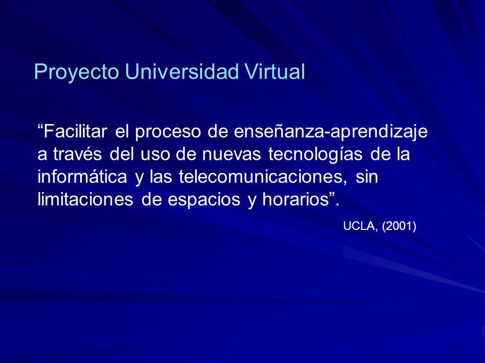 UCLA, (2001) Facilitar el proceso de enseñanza-aprendizaje a través del uso de nuevas tecnologías de la informática y las telecomunicaciones, sin limitaciones de espacios y horarios .