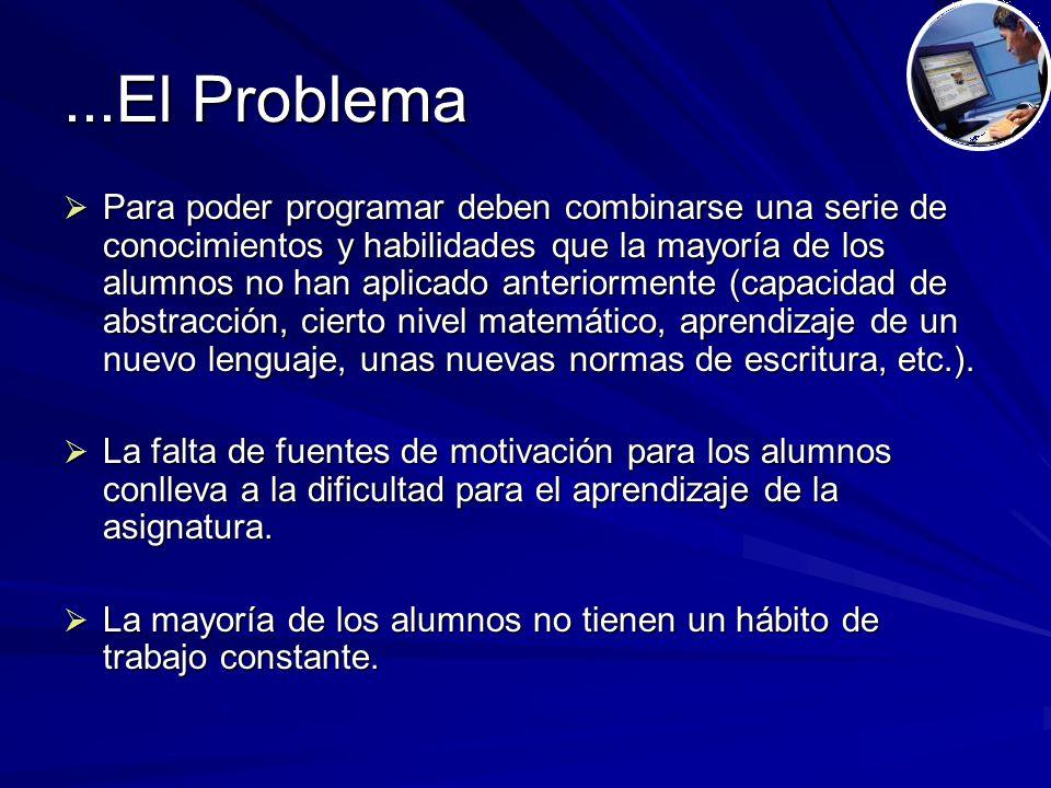...El Problema  Para poder programar deben combinarse una serie de conocimientos y habilidades que la mayoría de los alumnos no han aplicado anteriormente (capacidad de abstracción, cierto nivel matemático, aprendizaje de un nuevo lenguaje, unas nuevas normas de escritura, etc.).