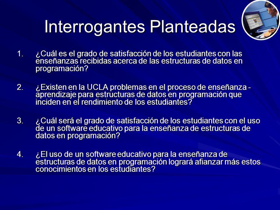 Interrogantes Planteadas 1.¿Cuál es el grado de satisfacción de los estudiantes con las enseñanzas recibidas acerca de las estructuras de datos en programación.