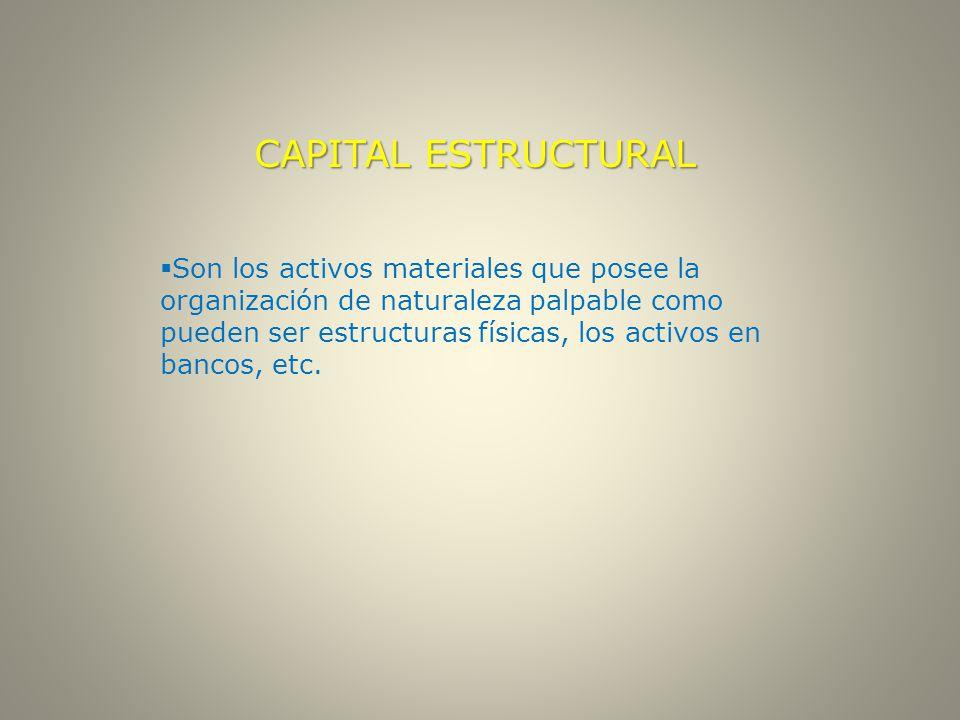 CAPITAL ESTRUCTURAL  Son los activos materiales que posee la organización de naturaleza palpable como pueden ser estructuras físicas, los activos en bancos, etc.