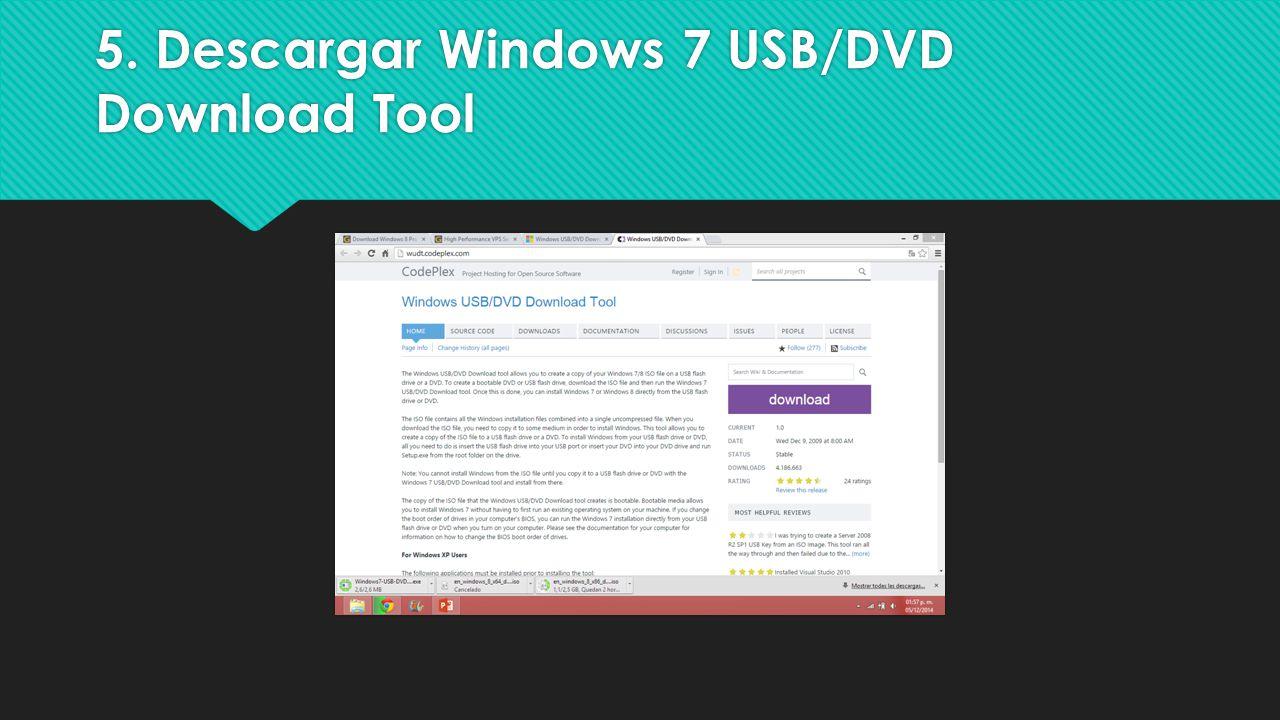 5. Descargar Windows 7 USB/DVD Download Tool