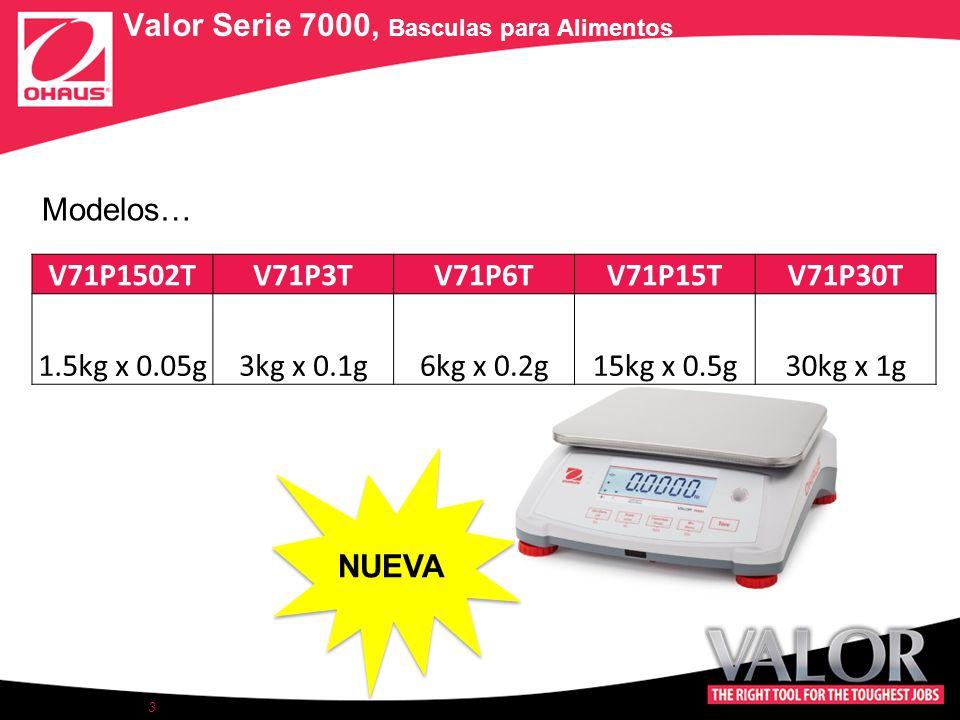 3 V71P1502TV71P3TV71P6TV71P15TV71P30T 1.5kg x 0.05g3kg x 0.1g6kg x 0.2g15kg x 0.5g30kg x 1g Valor Serie 7000, Basculas para Alimentos Modelos… NUEVA