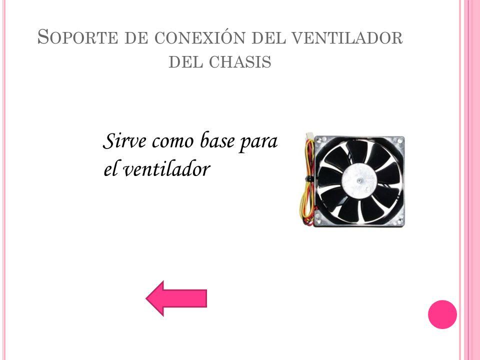 S OPORTE DE CONEXIÓN DEL VENTILADOR DEL CHASIS Sirve como base para el ventilador