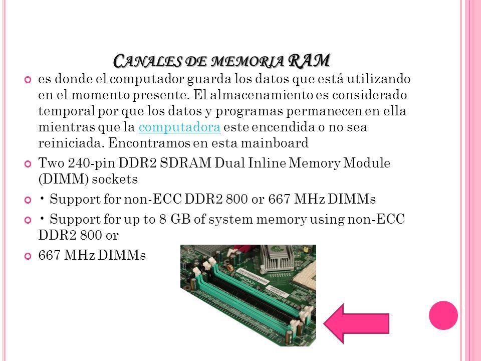C ANALES DE MEMORIA RAM es donde el computador guarda los datos que está utilizando en el momento presente.