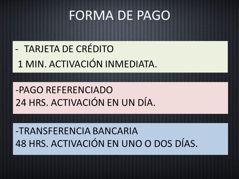 FORMA DE PAGO -TARJETA DE CRÉDITO 1 MIN. ACTIVACIÓN INMEDIATA.