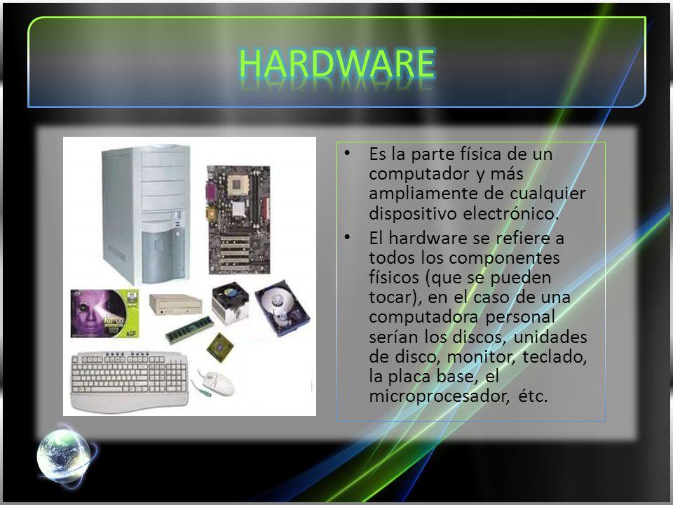 Es la parte física de un computador y más ampliamente de cualquier dispositivo electrónico.