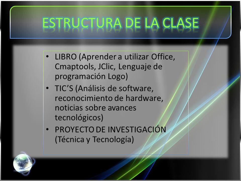 LIBRO (Aprender a utilizar Office, Cmaptools, JClic, Lenguaje de programación Logo) TIC'S (Análisis de software, reconocimiento de hardware, noticias sobre avances tecnológicos) PROYECTO DE INVESTIGACIÓN (Técnica y Tecnología)