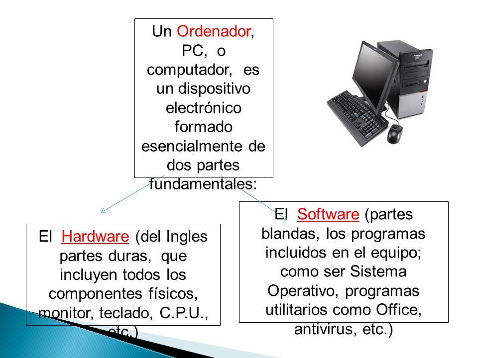 El Software (partes blandas, los programas incluidos en el equipo; como ser Sistema Operativo, programas utilitarios como Office, antivirus, etc.) Un Ordenador, PC, o computador, es un dispositivo electrónico formado esencialmente de dos partes fundamentales: El Hardware (del Ingles partes duras, que incluyen todos los componentes físicos, monitor, teclado, C.P.U., etc.)