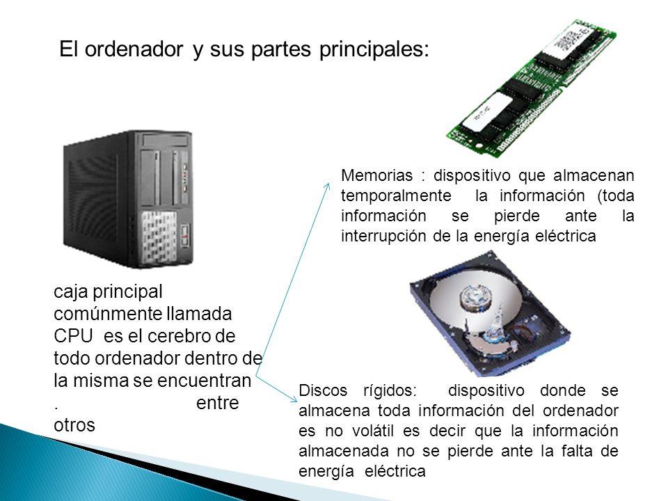 El ordenador y sus partes principales: caja principal comúnmente llamada CPU es el cerebro de todo ordenador dentro de la misma se encuentran.