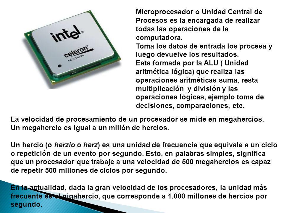 Microprocesador o Unidad Central de Procesos es la encargada de realizar todas las operaciones de la computadora.