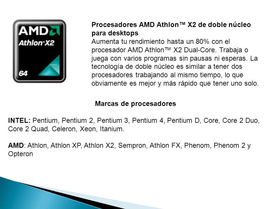 Procesadores AMD Athlon™ X2 de doble núcleo para desktops Aumenta tu rendimiento hasta un 80% con el procesador AMD Athlon™ X2 Dual-Core.