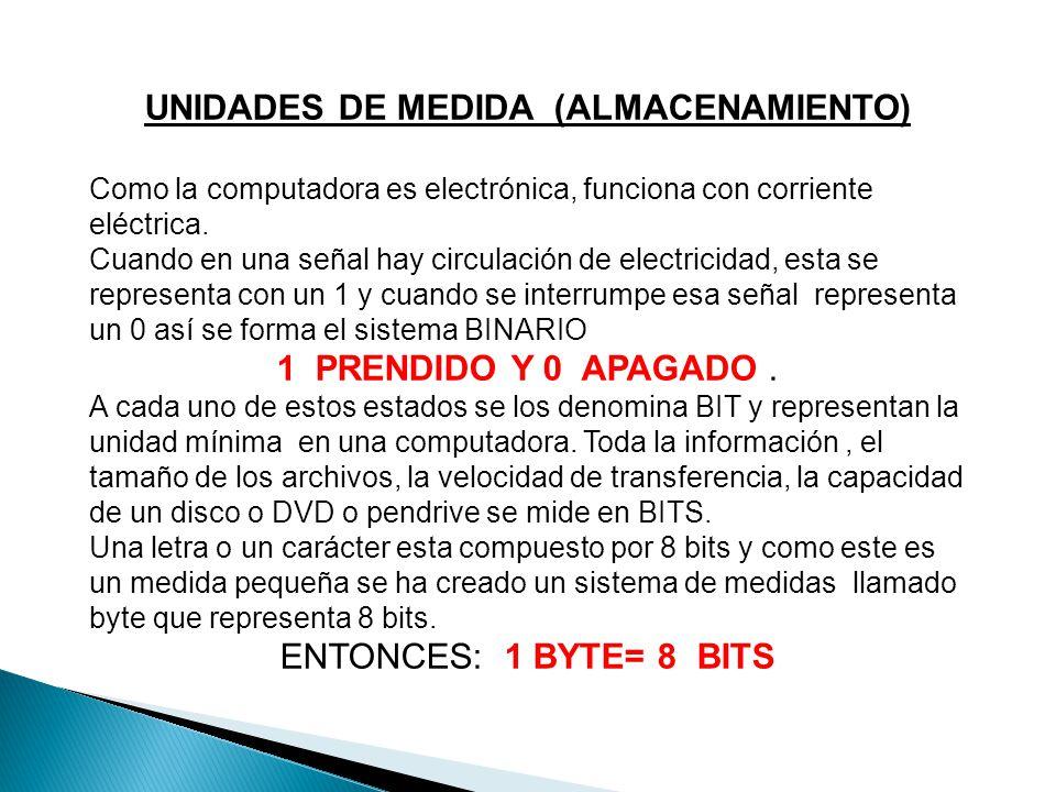 UNIDADES DE MEDIDA (ALMACENAMIENTO) Como la computadora es electrónica, funciona con corriente eléctrica.