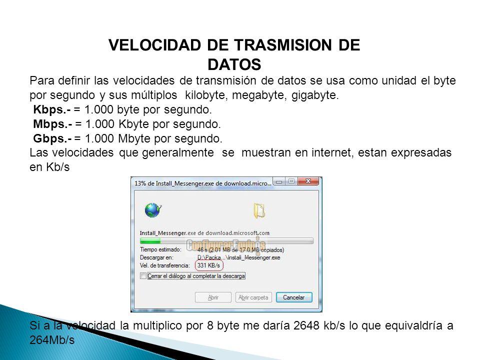 VELOCIDAD DE TRASMISION DE DATOS Para definir las velocidades de transmisión de datos se usa como unidad el byte por segundo y sus múltiplos kilobyte, megabyte, gigabyte.