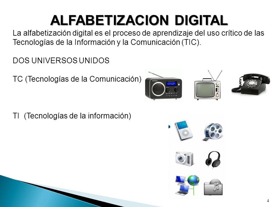 4 ALFABETIZACION DIGITAL La alfabetización digital es el proceso de aprendizaje del uso crítico de las Tecnologías de la Información y la Comunicación (TIC).