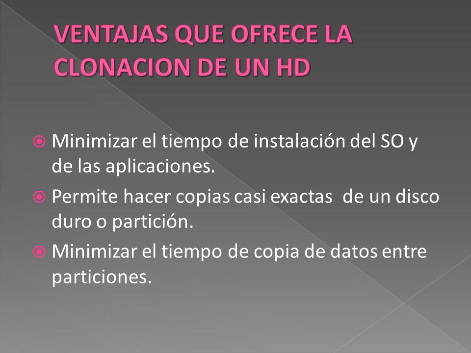  Minimizar el tiempo de instalación del SO y de las aplicaciones.