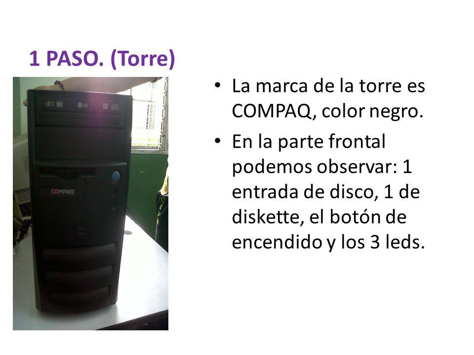 1 PASO. (Torre) La marca de la torre es COMPAQ, color negro.