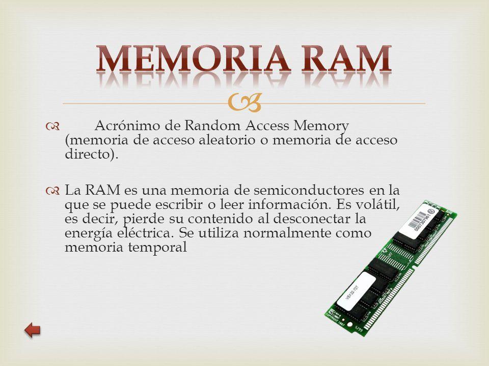   Acrónimo de Random Access Memory (memoria de acceso aleatorio o memoria de acceso directo).