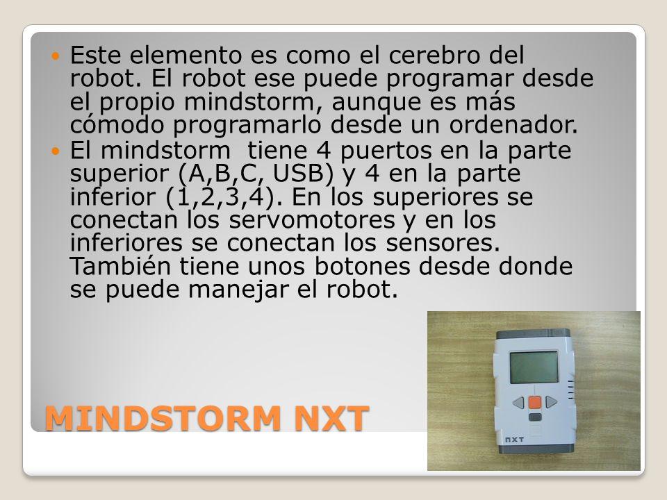 MINDSTORM NXT Este elemento es como el cerebro del robot.