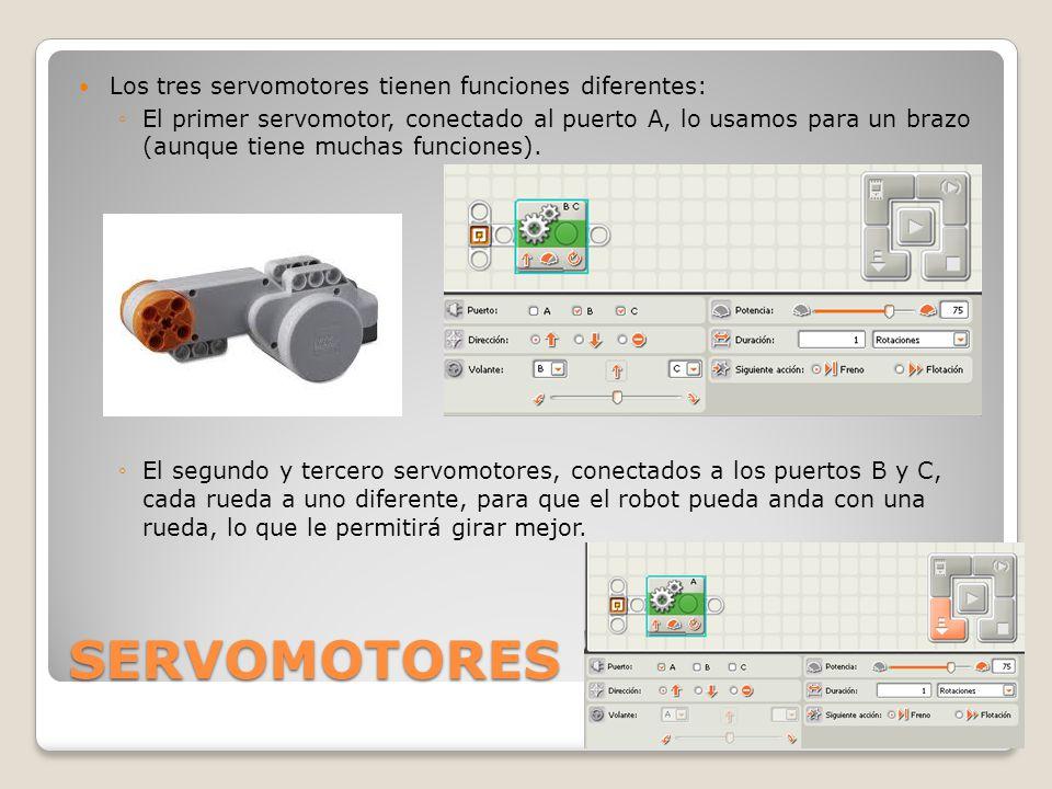 SERVOMOTORES Los tres servomotores tienen funciones diferentes: ◦El primer servomotor, conectado al puerto A, lo usamos para un brazo (aunque tiene muchas funciones).