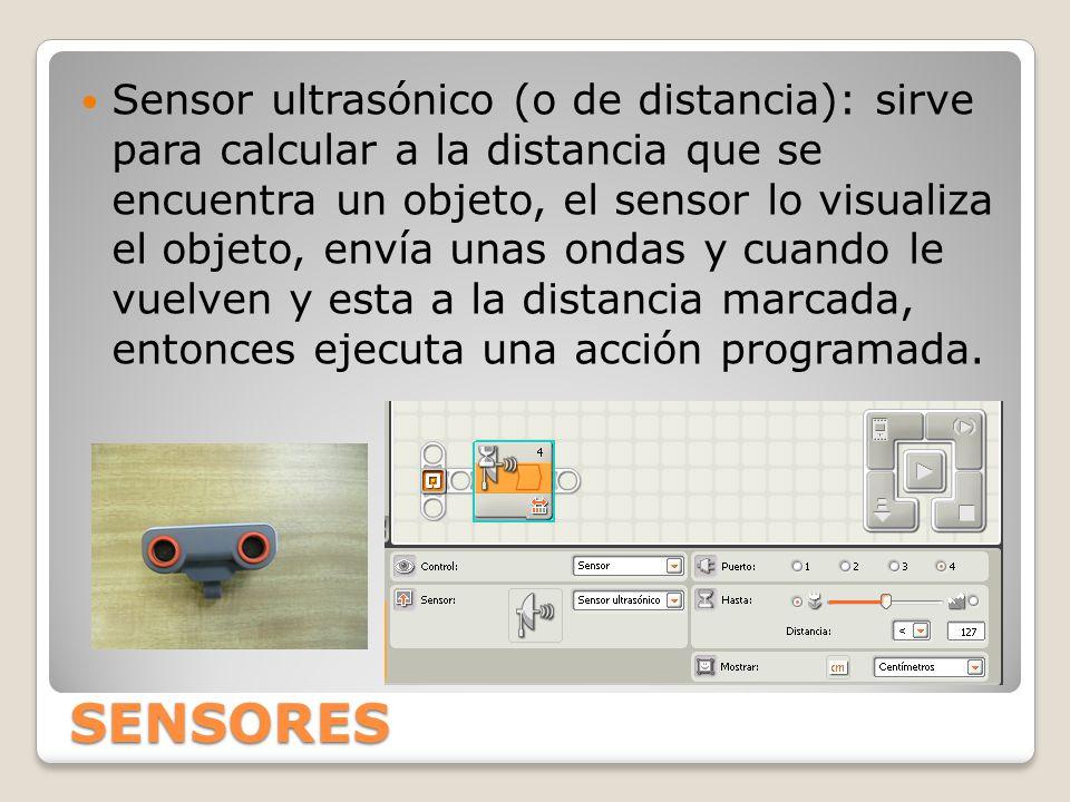 SENSORES Sensor ultrasónico (o de distancia): sirve para calcular a la distancia que se encuentra un objeto, el sensor lo visualiza el objeto, envía unas ondas y cuando le vuelven y esta a la distancia marcada, entonces ejecuta una acción programada.