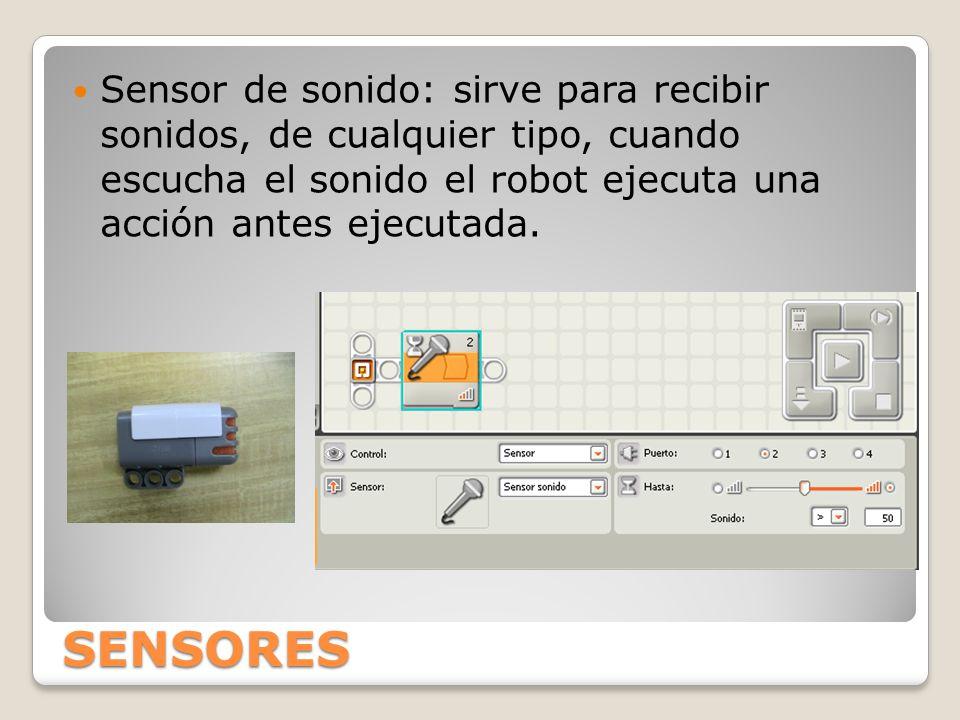 SENSORES Sensor de sonido: sirve para recibir sonidos, de cualquier tipo, cuando escucha el sonido el robot ejecuta una acción antes ejecutada.