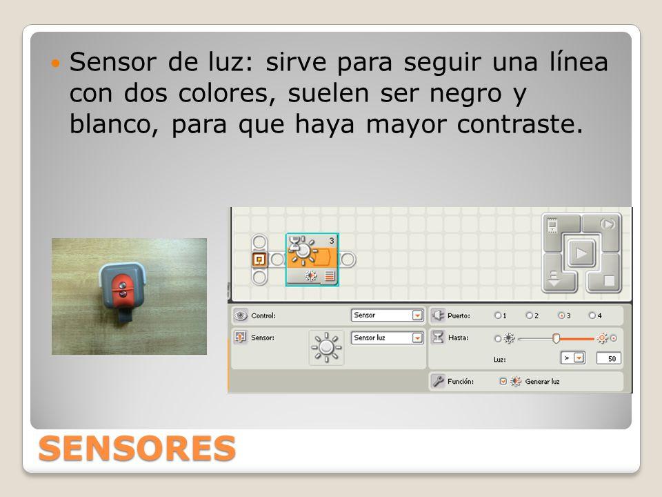 SENSORES Sensor de luz: sirve para seguir una línea con dos colores, suelen ser negro y blanco, para que haya mayor contraste.