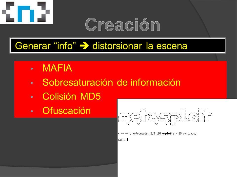 MAFIA Sobresaturación de información Colisión MD5 Ofuscación Generar info  distorsionar la escena