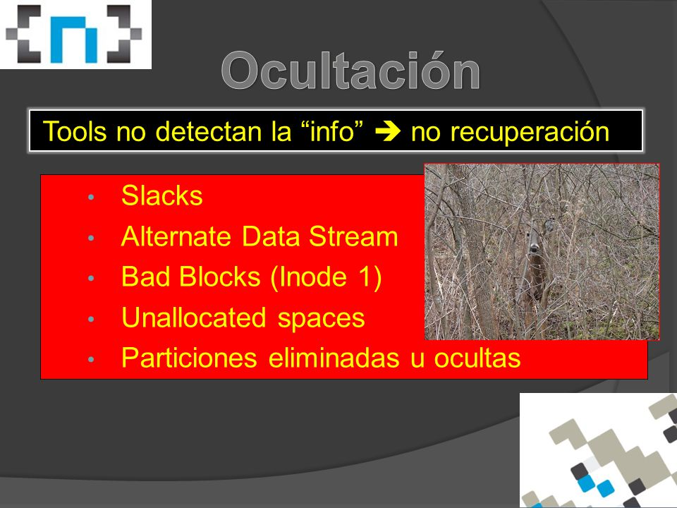 Slacks Alternate Data Stream Bad Blocks (Inode 1) Unallocated spaces Particiones eliminadas u ocultas Tools no detectan la info  no recuperación