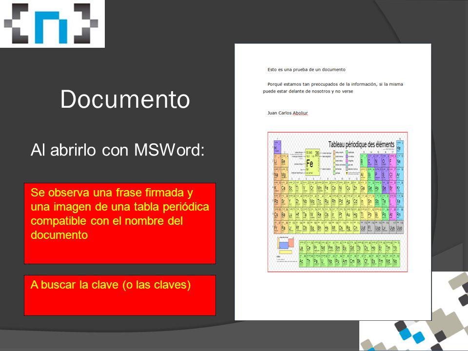 Documento Al abrirlo con MSWord: Se observa una frase firmada y una imagen de una tabla periódica compatible con el nombre del documento A buscar la clave (o las claves)