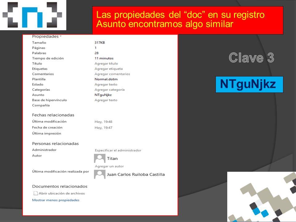 Las propiedades del doc en su registro Asunto encontramos algo similar NTguNjkz
