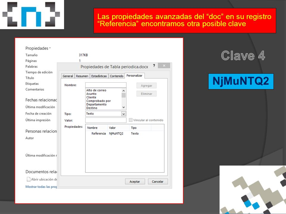 Las propiedades avanzadas del doc en su registro Referencia encontramos otra posible clave NjMuNTQ2