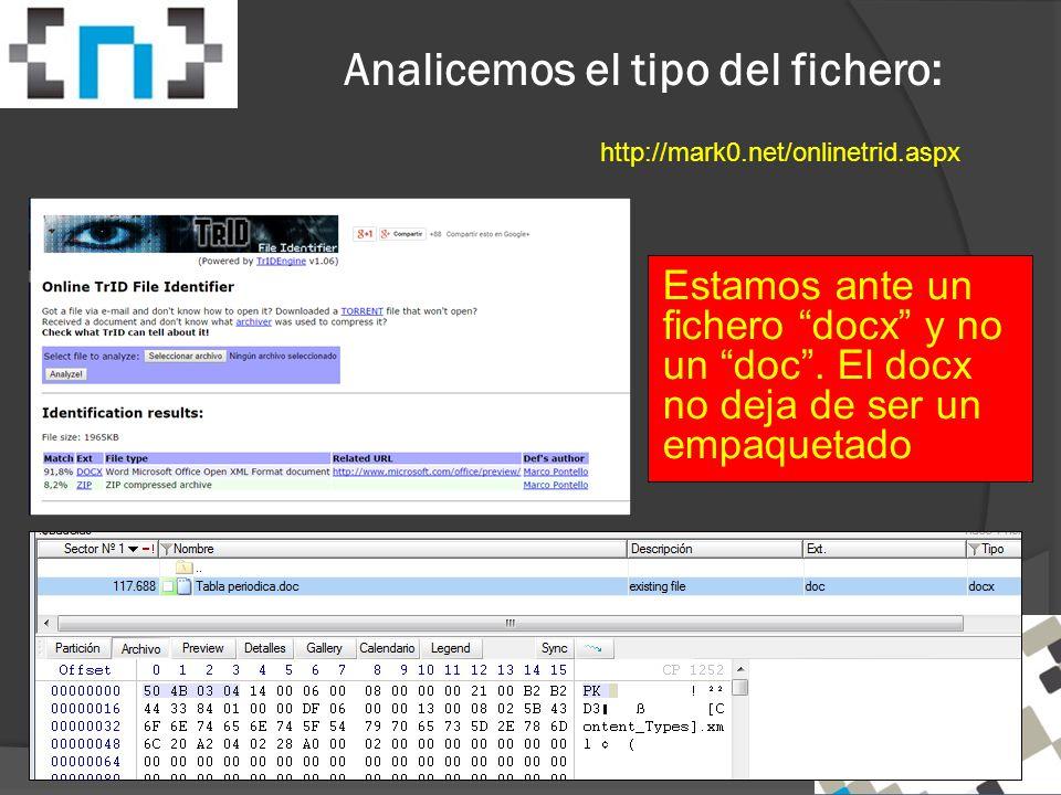 Analicemos el tipo del fichero: http://mark0.net/onlinetrid.aspx Estamos ante un fichero docx y no un doc .