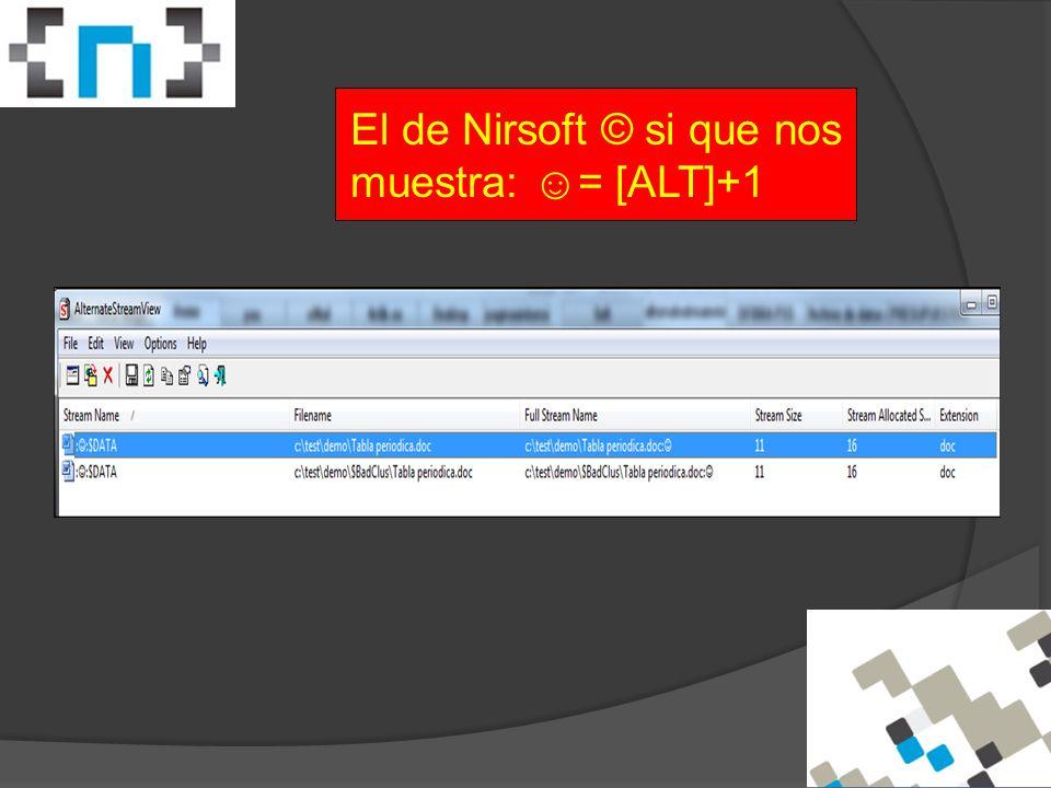 El de Nirsoft © si que nos muestra: ☺= [ALT]+1