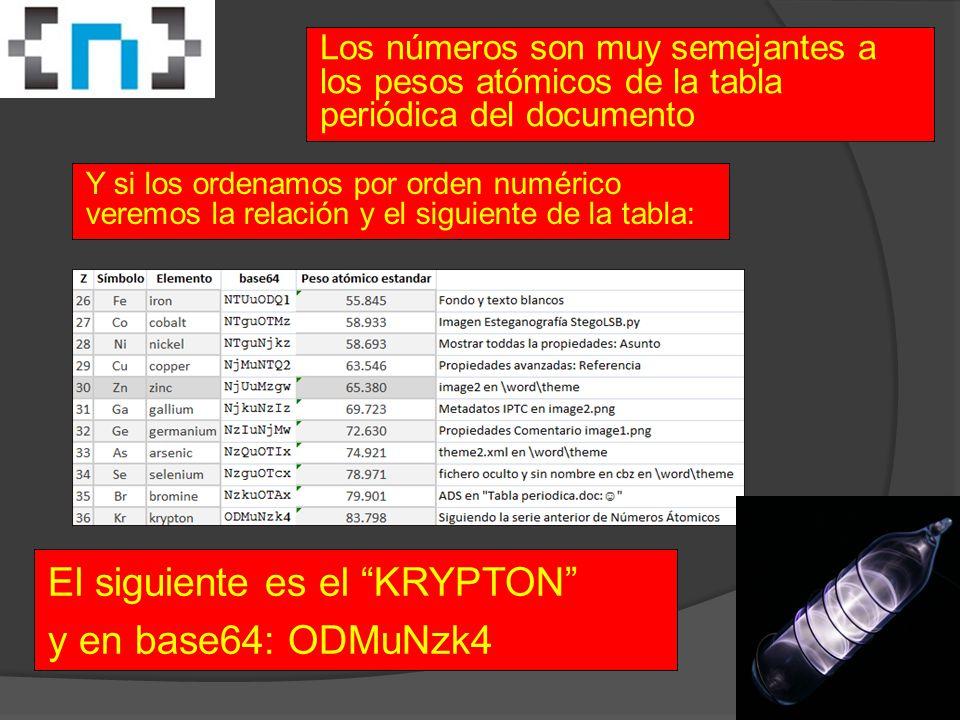 Los números son muy semejantes a los pesos atómicos de la tabla periódica del documento Y si los ordenamos por orden numérico veremos la relación y el siguiente de la tabla: El siguiente es el KRYPTON y en base64: ODMuNzk4