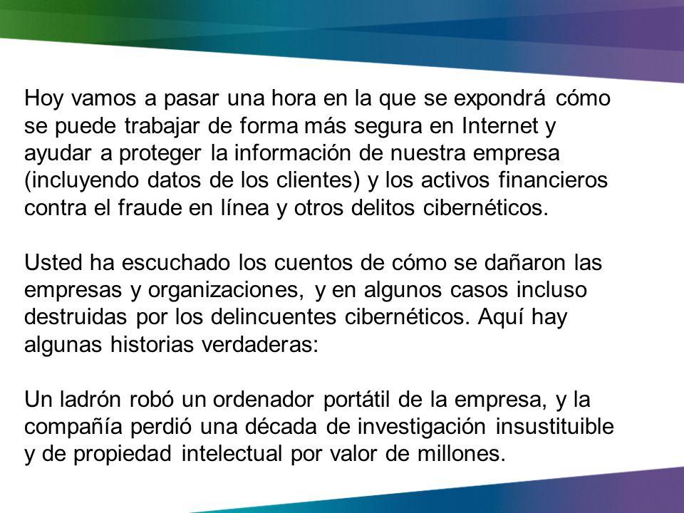 Seguridad en linea en el trabajo Proteger la compañia, clientes y empleados data online Carlos Alfredo Barrios www.carloscomputersrepairservices.com