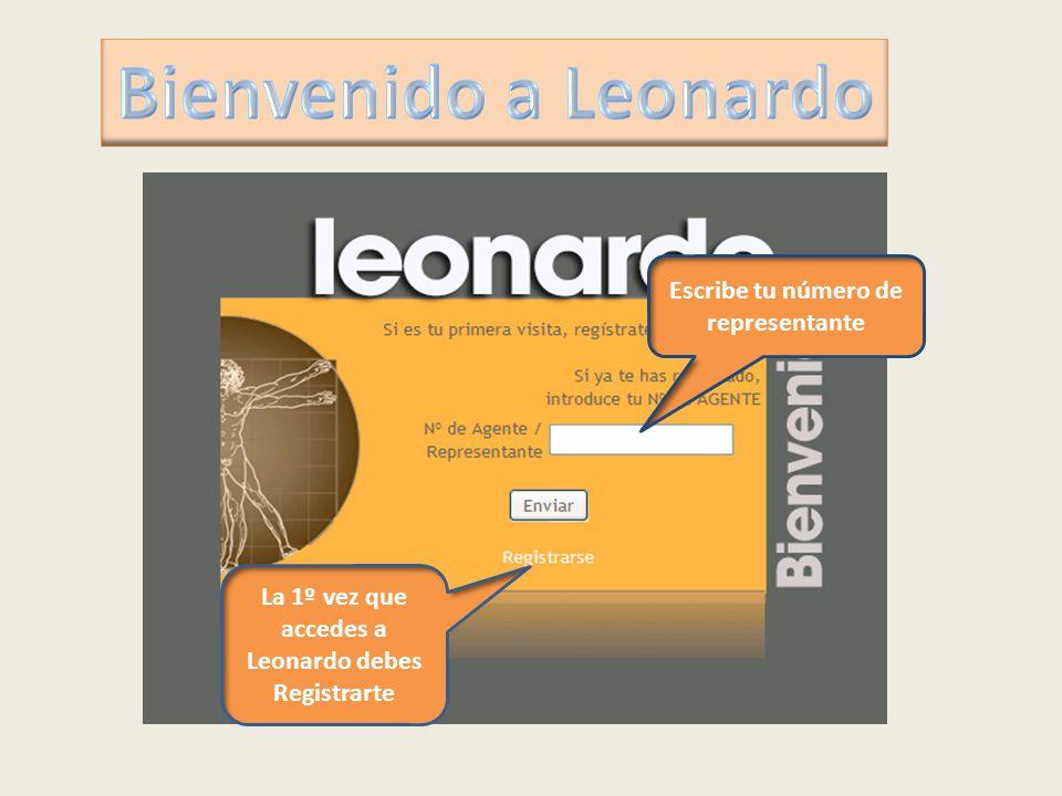 Escribe tu número de representante La 1º vez que accedes a Leonardo debes Registrarte