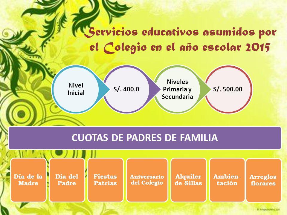 Servicios educativos asumidos por el Colegio en el año escolar 2015 S/.