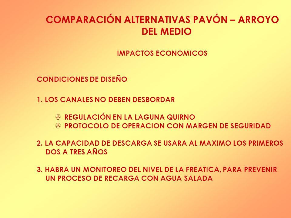 COMPARACIÓN ALTERNATIVAS PAVÓN – ARROYO DEL MEDIO IMPACTOS ECONOMICOS CONDICIONES DE DISEÑO 1.