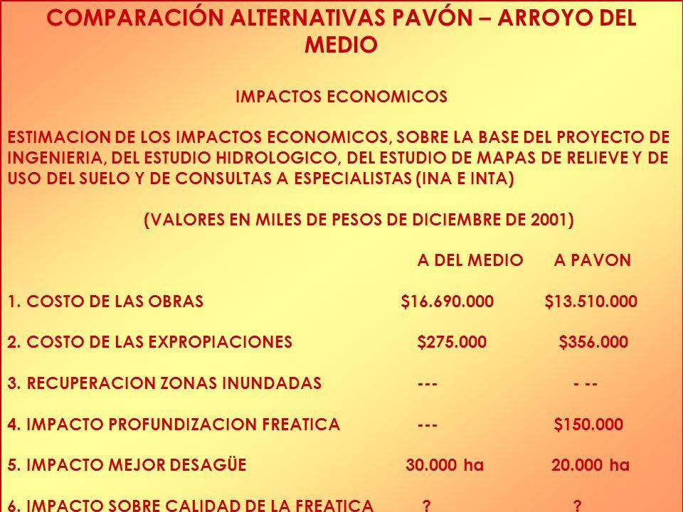 COMPARACIÓN ALTERNATIVAS PAVÓN – ARROYO DEL MEDIO IMPACTOS ECONOMICOS ESTIMACION DE LOS IMPACTOS ECONOMICOS, SOBRE LA BASE DEL PROYECTO DE INGENIERIA, DEL ESTUDIO HIDROLOGICO, DEL ESTUDIO DE MAPAS DE RELIEVE Y DE USO DEL SUELO Y DE CONSULTAS A ESPECIALISTAS (INA E INTA) (VALORES EN MILES DE PESOS DE DICIEMBRE DE 2001) A DEL MEDIOA PAVON 1.