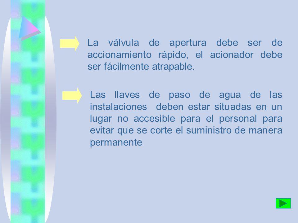 La válvula de apertura debe ser de accionamiento rápido, el acionador debe ser fácilmente atrapable.