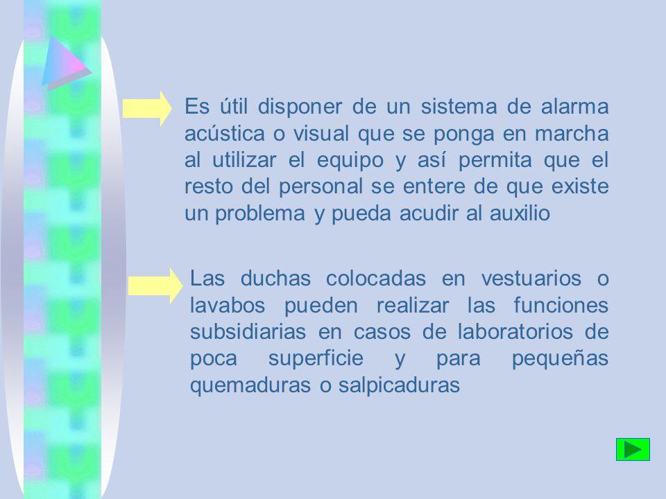 Es útil disponer de un sistema de alarma acústica o visual que se ponga en marcha al utilizar el equipo y así permita que el resto del personal se entere de que existe un problema y pueda acudir al auxilio Las duchas colocadas en vestuarios o lavabos pueden realizar las funciones subsidiarias en casos de laboratorios de poca superficie y para pequeñas quemaduras o salpicaduras